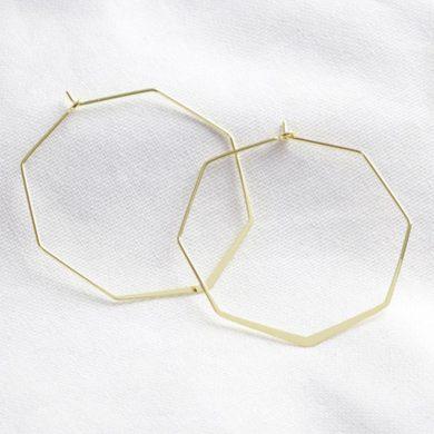 Gold Delicate Octagonal Hoop Earrings