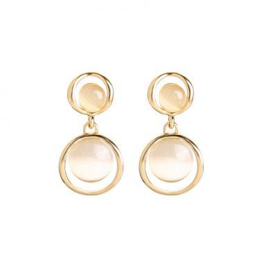 Gold Opal Circles Earrings