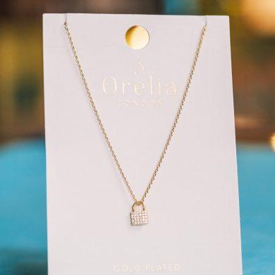 Mini Pave Padlock Necklace Lifestyle