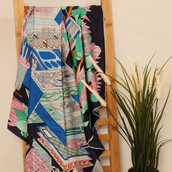 Navy Blue Abstract Silk Scarf