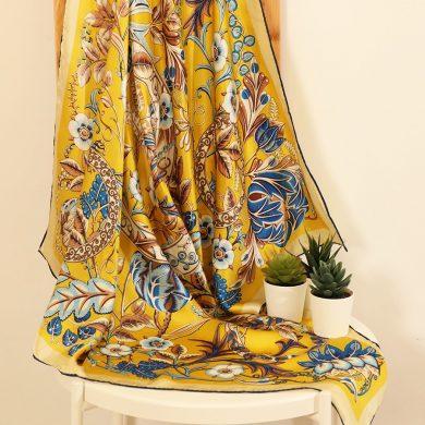 Yellow Regal Floral Silk Scarf
