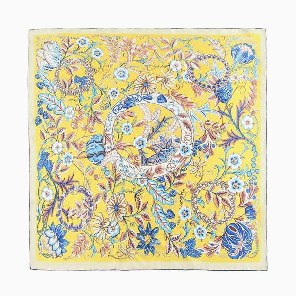 Yellow Regal Floral Silk Scarf Flat