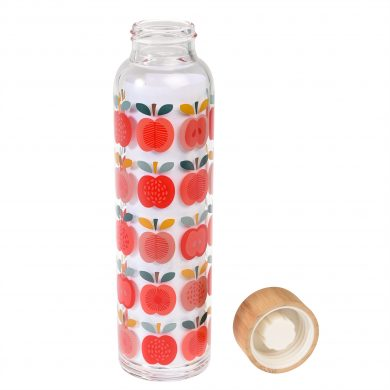 Glass Water Bottle Vintage Apple