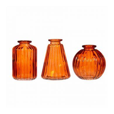 Amber Bud Vases set of 3
