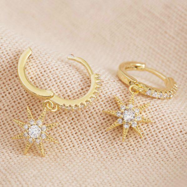 Crystal Star Huggie Hoop Earrings In Gold