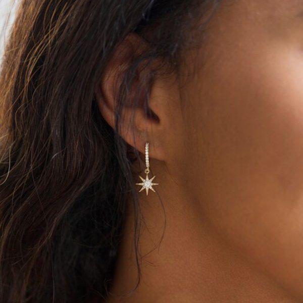 Crystal Star Huggie Hoop Earrings In Gold Lifestyle
