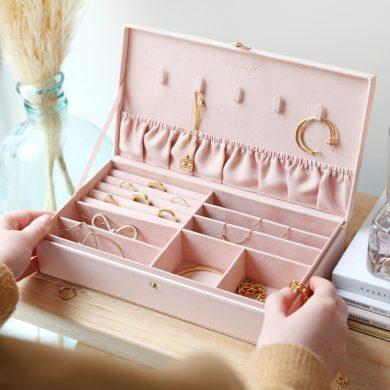LARGE PINK JEWELLERY BOX