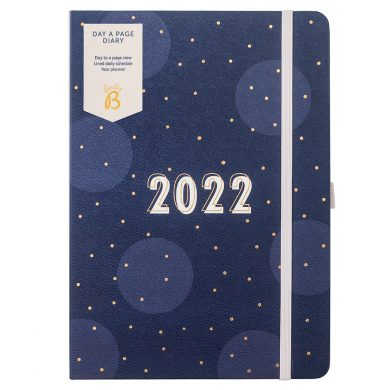 Page A Day Diary 2022 Navy Spot Cover
