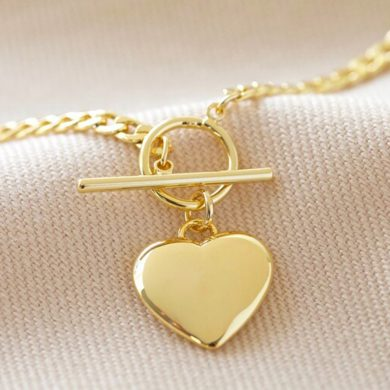 T-Bar Heart Charm Necklace